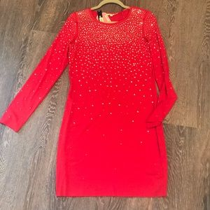 Red knit gold accent dress